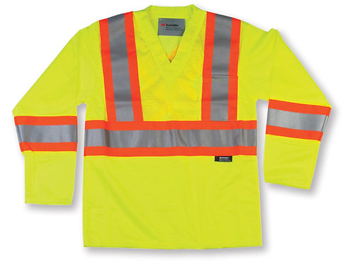 Lime Green High Visibility Polyester Mesh Safety Shirt