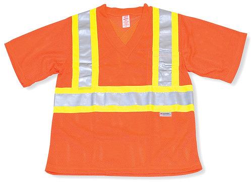 Orange Mesh 100% Polyester T-Shirt