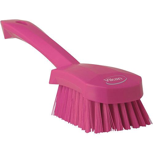 Vikan Pink Short Handle Brush - Stiff