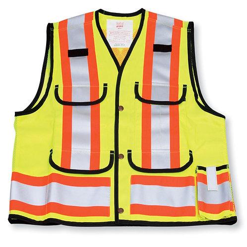 Lime Poly/Cotton Mesh Supervisor Safety Vest