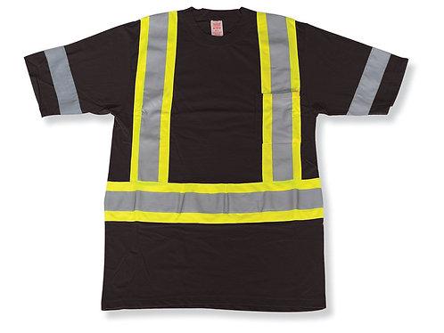 Black 100% Cotton Traffic Safety T-Shirt
