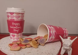 Cup of Mini Heart Sugar cookies