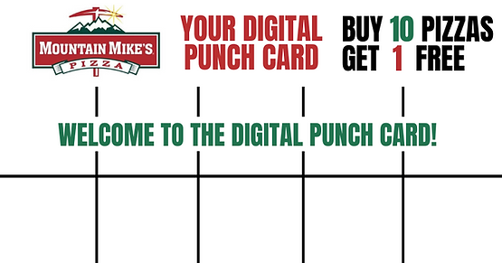 Mountain Mikes Pizza Digital Punch Card