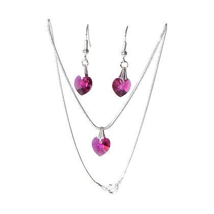 Crystal Heart Jewellery Set