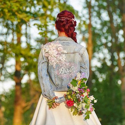 """Lace Applique """"Bride"""" Denim Jacket"""
