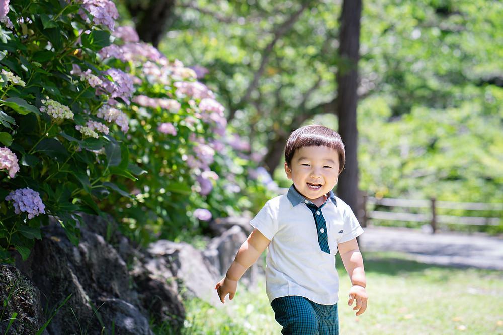 浜松のカメラマンが法多山尊永寺にて紫陽花と一緒に撮った男の子の写真