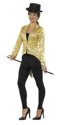 Sequin Tailcoat Jacket, Ladies, Gold