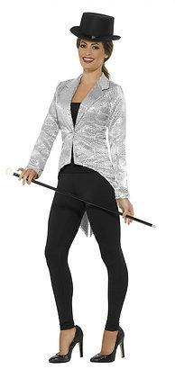 Sequin Tailcoat Jacket, Ladies, Silver