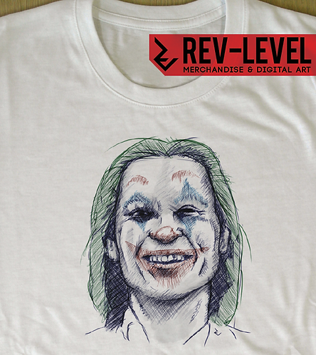 Joaquin Phoenix Joker Ink Drawing T-Shirt Inspired by DC Batman Villain