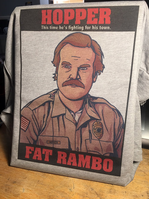 Stranger Things Hopper Fat Rambo T-Shirt - Inspired by Netflix Seas