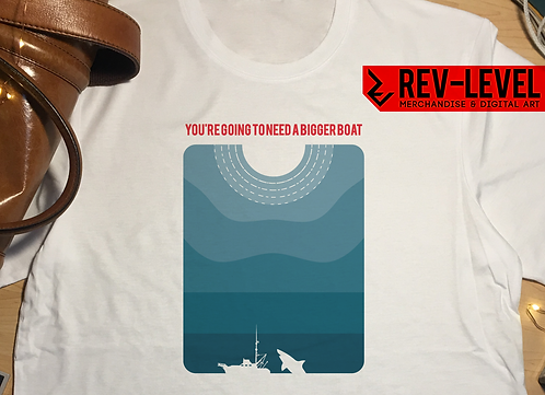 Jaws Bigger Boat Movie Poster T-Shirt - Inspired Steven Spielberg and Minimalism