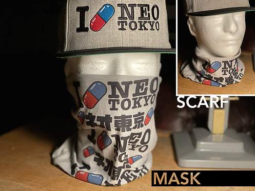Akira I Love Neo-Tokyo Mask Scarf Snood Face Covering Neck Gaiter
