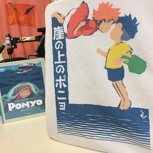 Ponyo Minimalist Japanese Poster Tee - Studio Ghibli Miyazaki 崖の上のポニョ T-Shirt