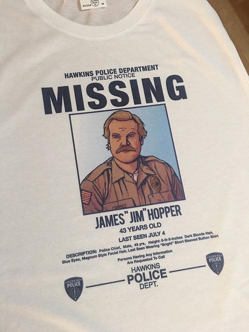 Stranger Things Hopper Missing Poster T-Shirt - Inspired by Netflix Season 3