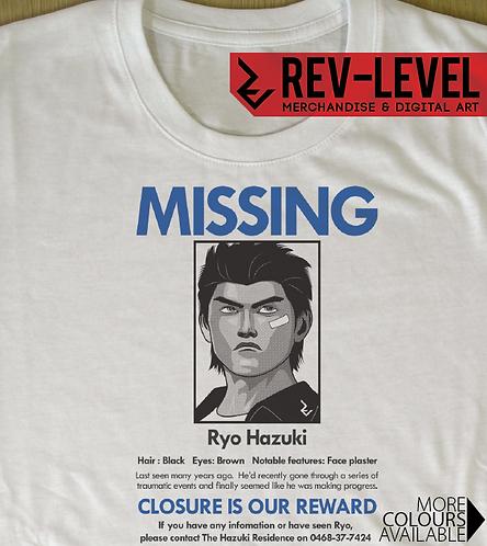 Ryo Hazuki Missing Poster T-Shirt Sega Dreamcast Shenmue Inspired Tee