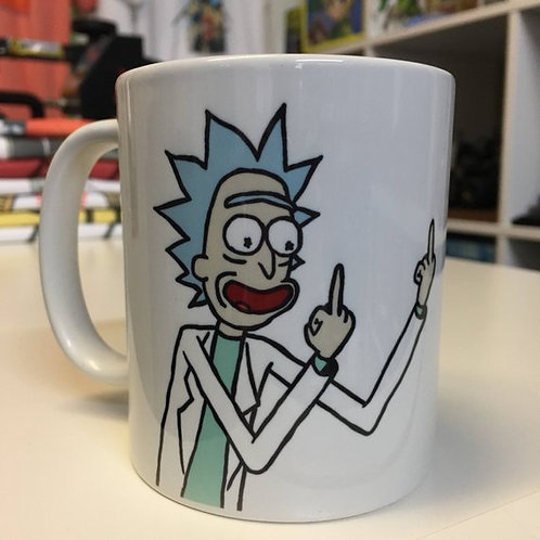 Rick and Morty Rick Sanchez Middle Finger Mug - Funny Flipping The Bird Cup