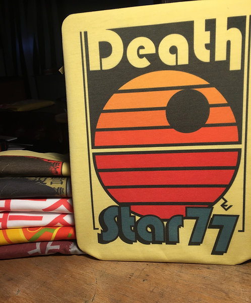 Star Wars Retro Death Star 77 Poster T-Shirt - Old School Disco Tee