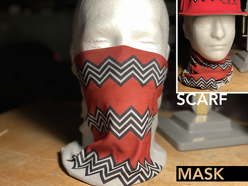 Twin Peaks Black Lodge Mask Scarf Snood Face Covering Neck Gaiter David Lynch