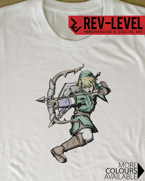 Legend of Zelda - Link Aiming Bow and Arrow Tee - Digital Drawing