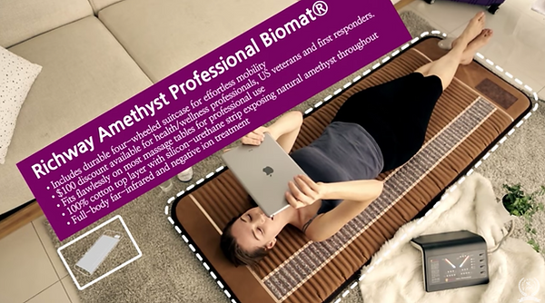 BioMat Professional Dimensions. Includes durable four wheeled suitcase for effortless mobility. $100 discount available for health and wellness professionals, US veterans and first responders, fits flawlessly on most massage tables for professional use, 100% cotton top layer with silicon urethane strip exposing natural amethyst throughout, full body far infrared and negative ion treatment