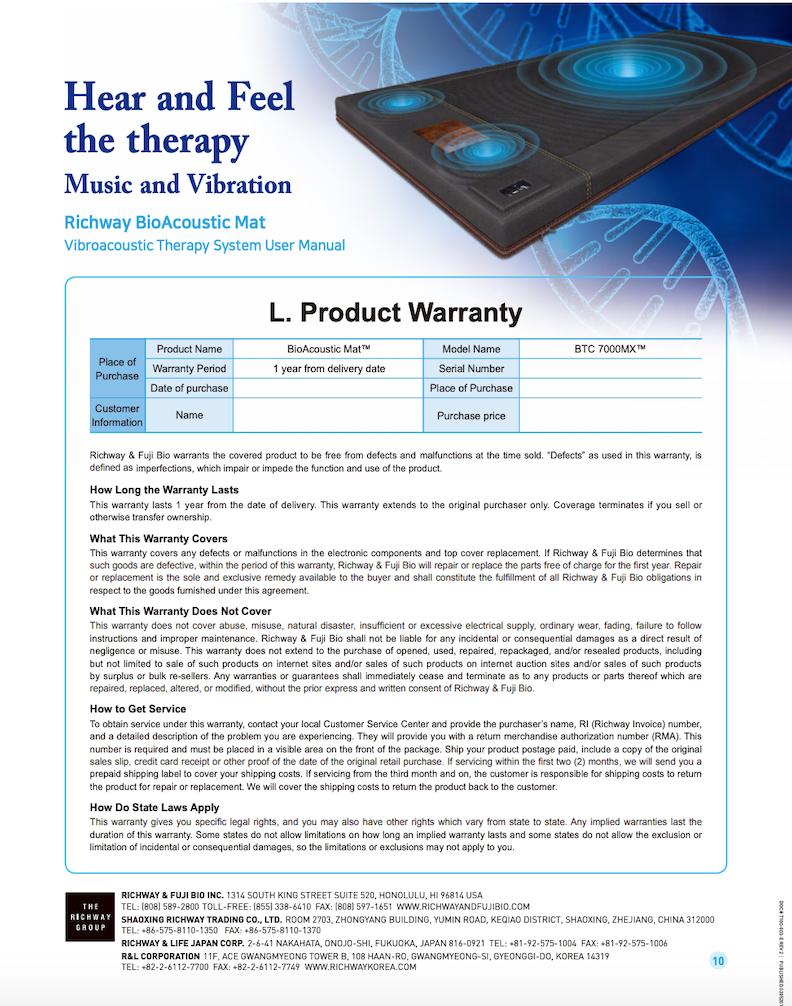 BioAcoustic Mat warranty plan- Hear and feel the therapy- music and vibration