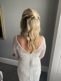 half up half down wedding hair with waves