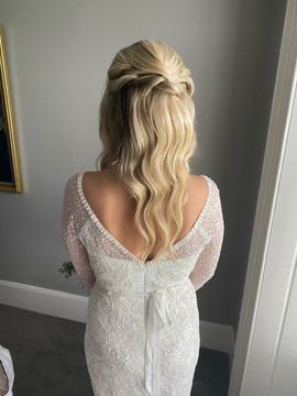 half up half down wedding hair with waves