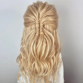 infinity braid half up hairstyle