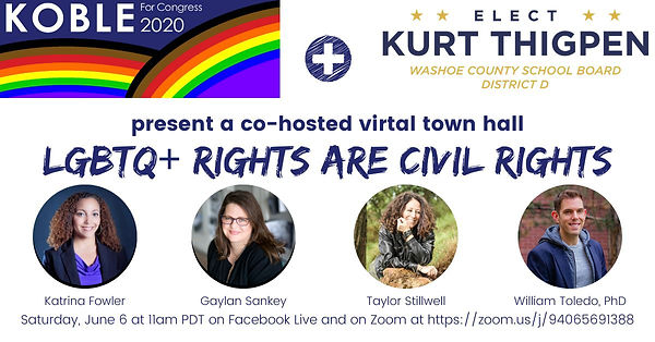 Join Clint Koble and community activists for a virtual town hall on LGBTQ+ issues in 2020.