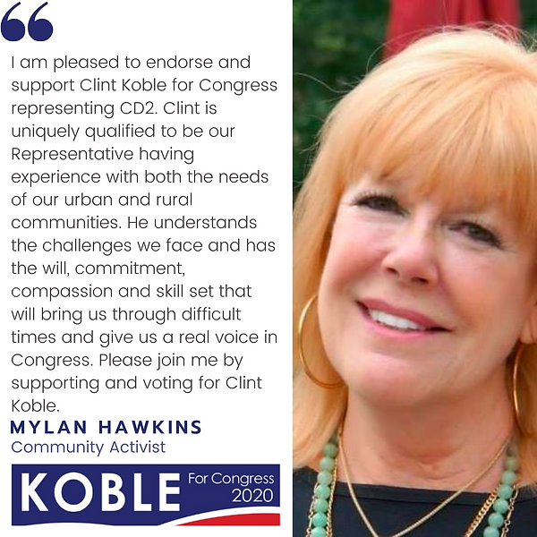 Mylan Hawkins endorses Clint Koble for Congresseman in NV-2