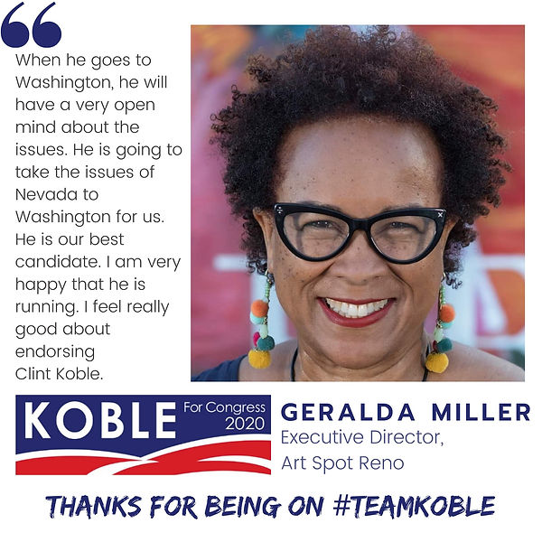 Geralda Miller endorses Clint Koble for Congress in Nevada CD-2 (NV-2) in 2020