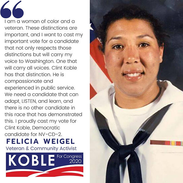 Felicia Weigel endorses Clint Koble for Congress for Nevada CD-2 (NV-2) in 2020