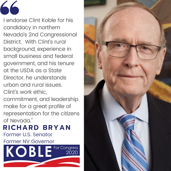 Richard Bryan, former US Senator from Nevada and Nevada Governor endorses Clint Koble for US Congressman
