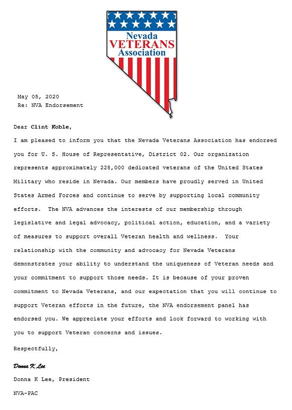 Nevada Veterans Association endorses Clint Koble for Nevada CD2 congressional seat