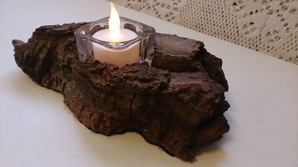 Natural tree bark candle holder.