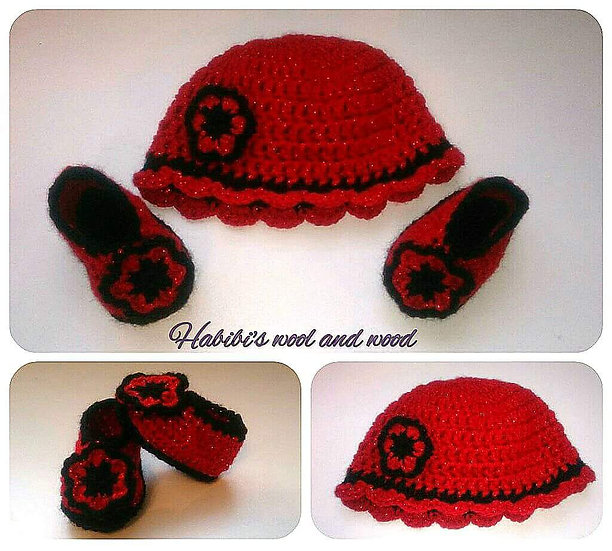 Crochet hat and shoes.