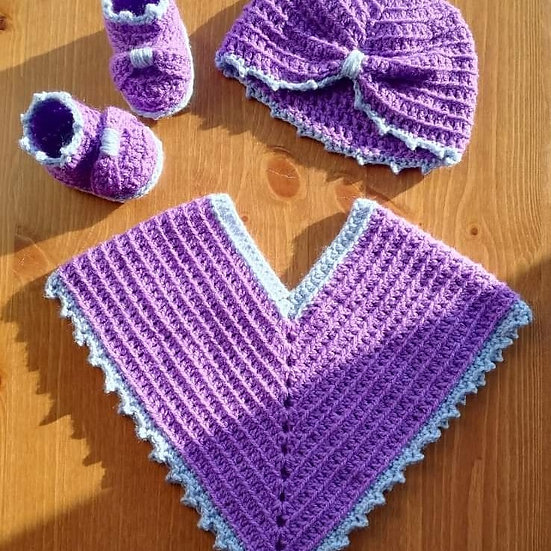 Crochet poncho, hat and boots set