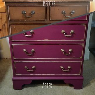 up-cycled dresser painted in Plum Crazy