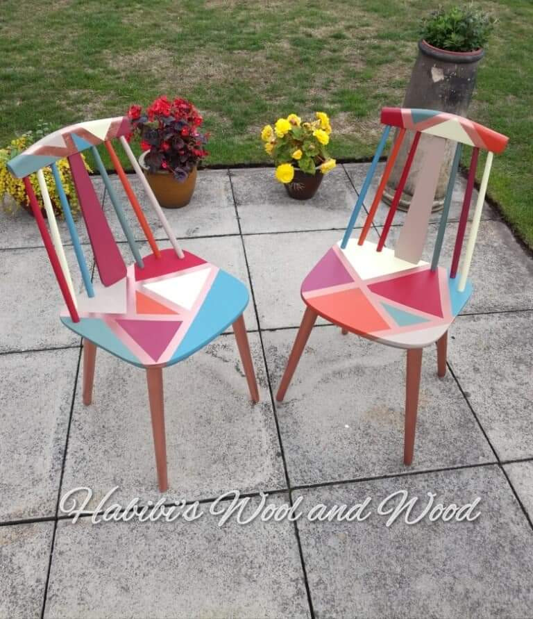 Up-cycled wooden chairs.