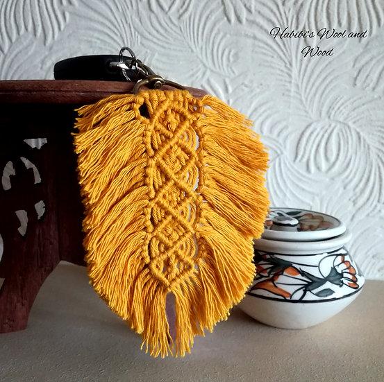 Boho Macramé Feather Keyring   Gift   EcoFriendly
