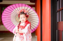 七五三 出張撮影 赤坂日枝神社 和傘 女性カメラマン 横浜