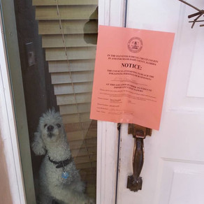 DOG GIVES AWAY OWNER FROM BEING SERVED WITH SERVICE OF PROCESS.