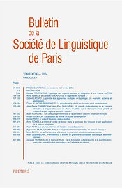 Bulletin de la Societe de Linguistique d