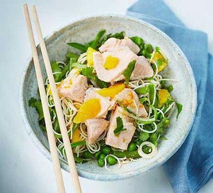 Fresh salmon with Thai noodle salad