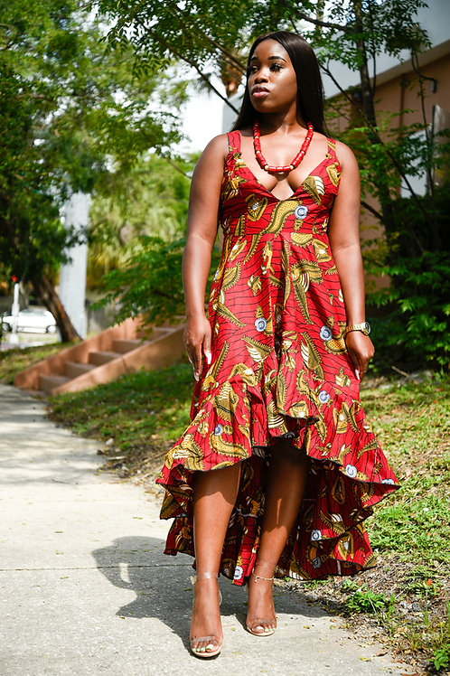 High Low African Dress with bottom ruffles