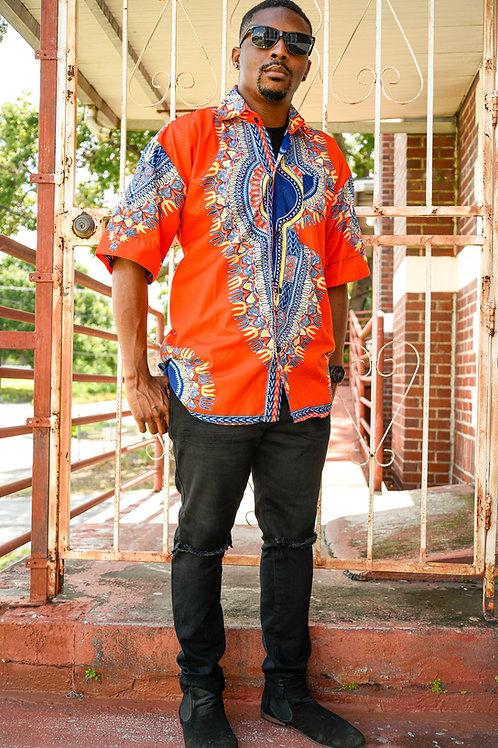Orange and Blue Dashiki Shirt
