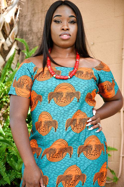 A line African Dress with bottom ruffles