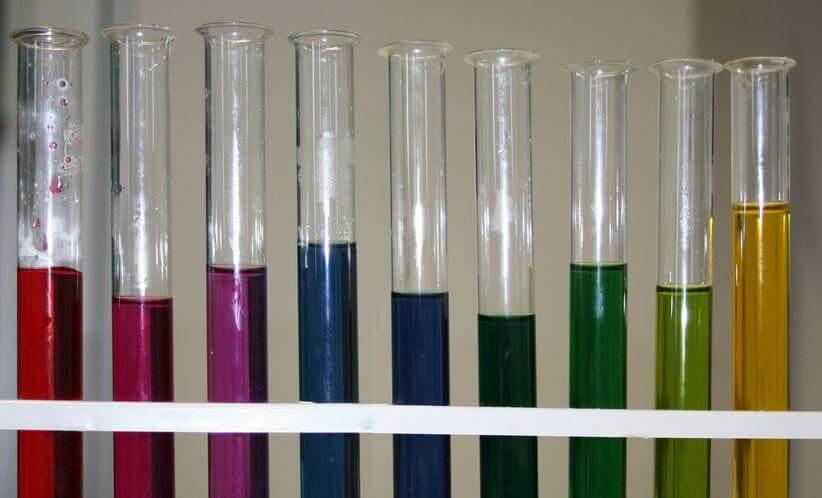 Εκχύλισμα κόκκινου λάχανου σε χαμηλό pH (αριστερά) έως υψηλό pH (δεξιά)