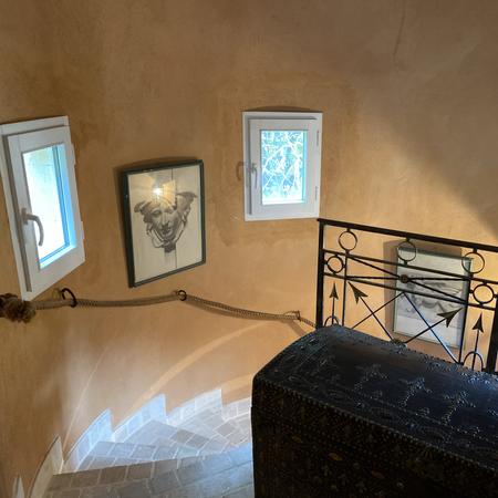 Escalier de la tour vue d'en haut