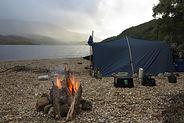 Open fire and tarp bivy set up